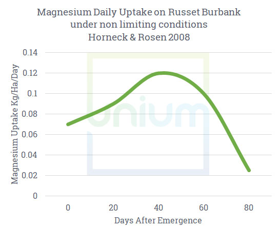 Magensium Daily update on russet burbank under non limiting conditions