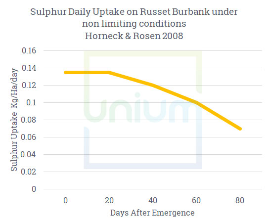Sulphur Daily update on russet burbank under non limiting conditions