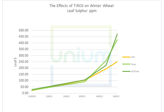 The Effects of TIROS on Winter Wheat Leaf Sulphur ppm