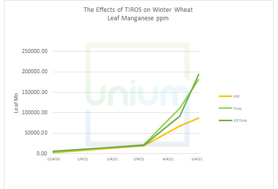 The Effects of TIROS on Winter Wheat Leaf Manganese ppm